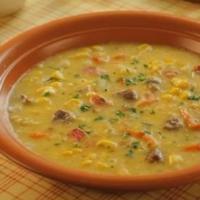 Суп с кукурузой и беконом на говяжем бульоне